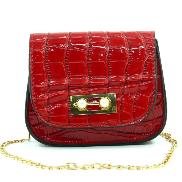 Croco Pattern Baby Bag With Chain Strap